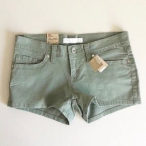 NWT LEVI'S Green Twill Stretch Denim Shorts Sz 27